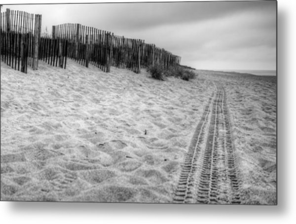 Snow Fence On The Beach Metal Print