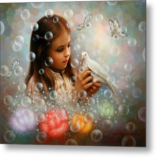 Soap Bubble Girl Metal Print