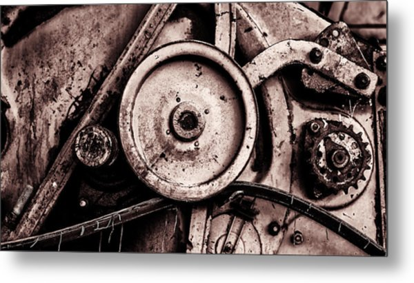 Soviet Ussr Combine Harvester Abstract Cogs In Monochrome Metal Print