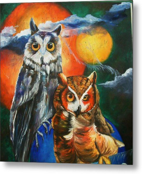 Space Owls Metal Print by Andrea  Darlington