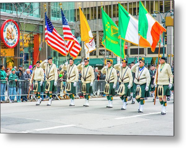 St. Patrick Day Parade In New York Metal Print