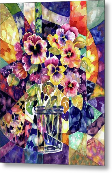 Stained Glass Pansies Metal Print