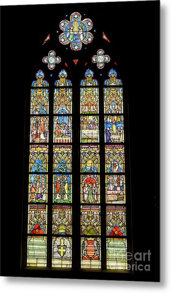 Stained Glass Window In Medieval Catholic Church Metal Print