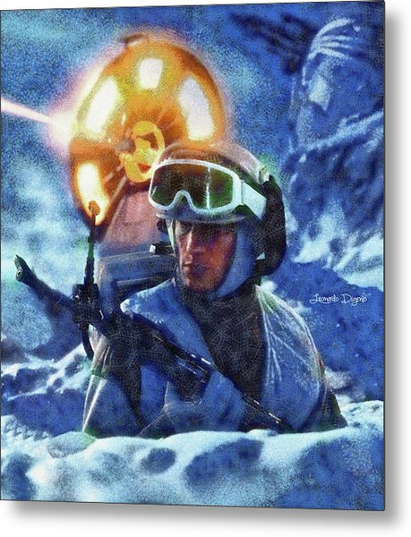 Star Wars Battle Of Hoth - Wax Over Oil Canvas Metal Print