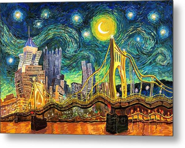 Starry Night In Pittsburgh Metal Print