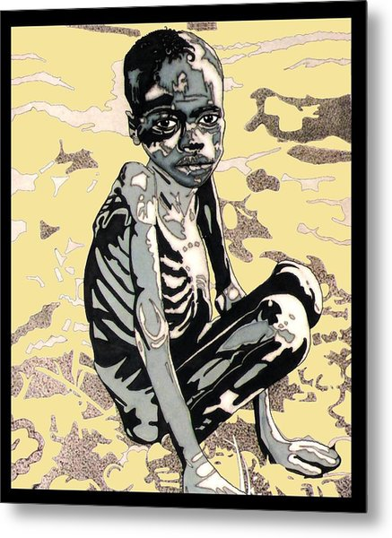 Starving African Boy Metal Print by Gabe Art Inc