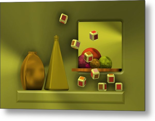 Metal Print featuring the digital art Still Life With Cubes by Alberto RuiZ