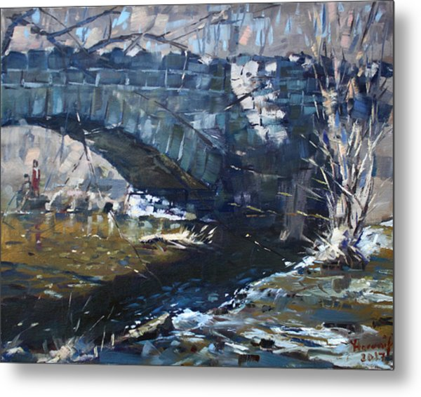 Stone Bridge At Three Sisters Islands Metal Print