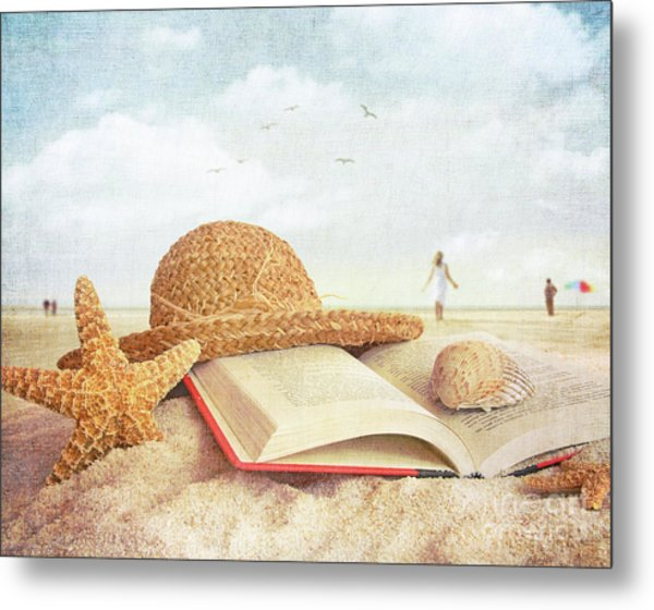 Straw Hat Book And Seashells In The Sand Metal Print