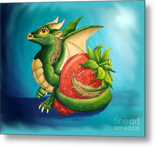 Metal Print featuring the painting Strawberry Dragon by Mary Hoy