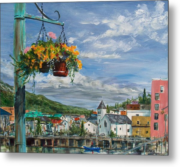 Street Flowers Metal Print by Pete Maier