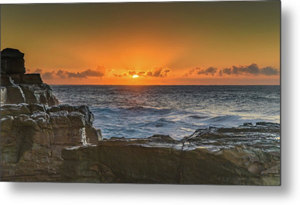 Sun Rising Over The Sea Metal Print
