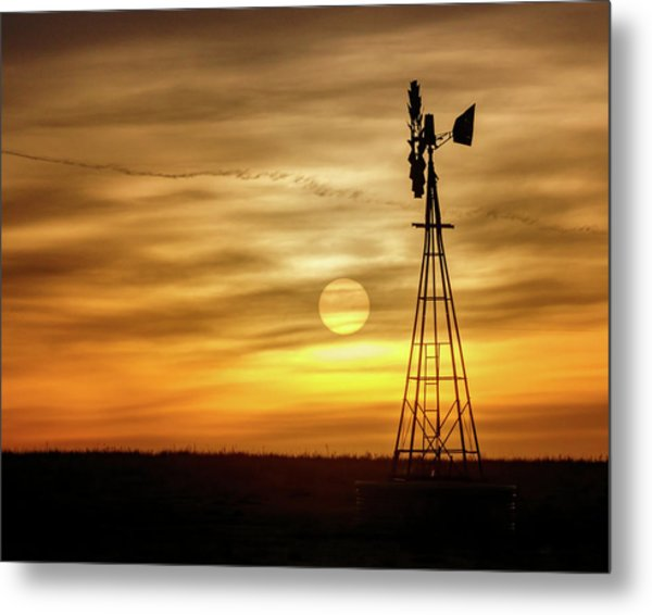 Metal Print featuring the photograph Sunset And Windmill by Rob Graham