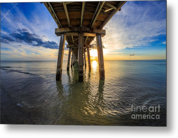 Sunrise Naples Pier Florida Metal Print