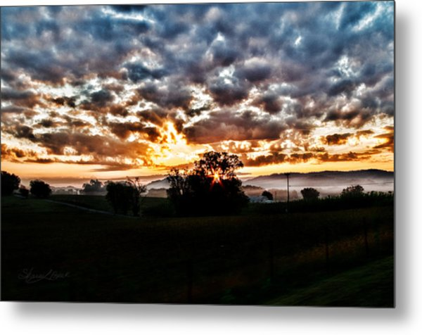 Sunrise Over Fields Metal Print