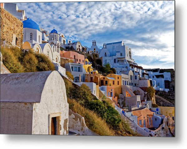 Sunrise Over Oia Metal Print