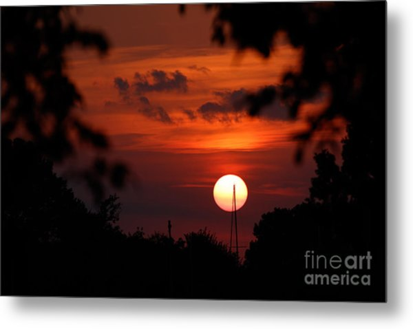 Sunset At Lake Hefner Metal Print