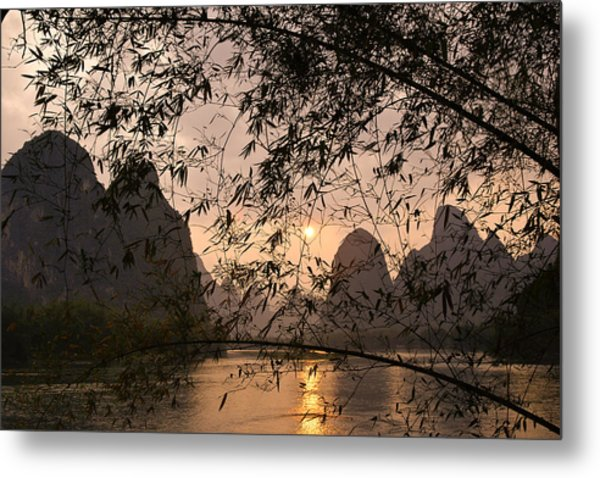 Sunset On The Li River Metal Print