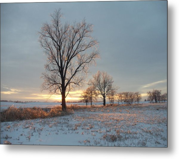 Sunset Over Icy Field Metal Print