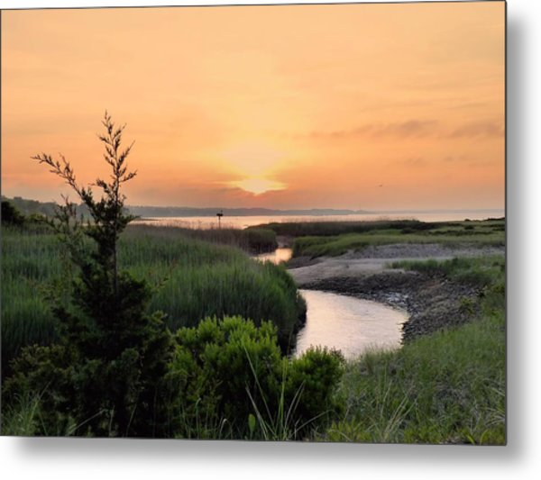 Sunset Over Marsh Metal Print