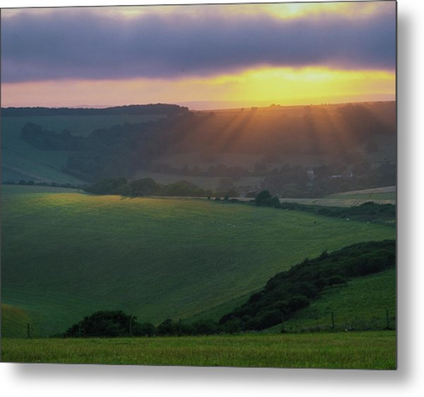 Sunset Over The South Downs Metal Print