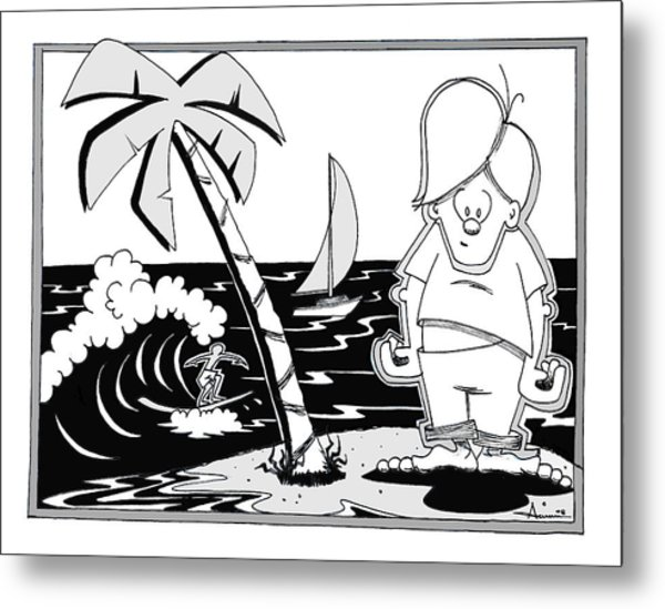 Surfer Toon 4 Metal Print by Aaron Bodtcher