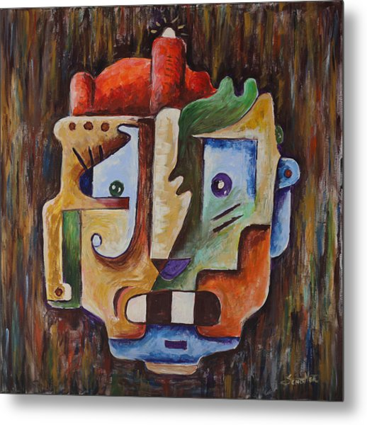 Metal Print featuring the painting Surrealism Head by Sotuland Art