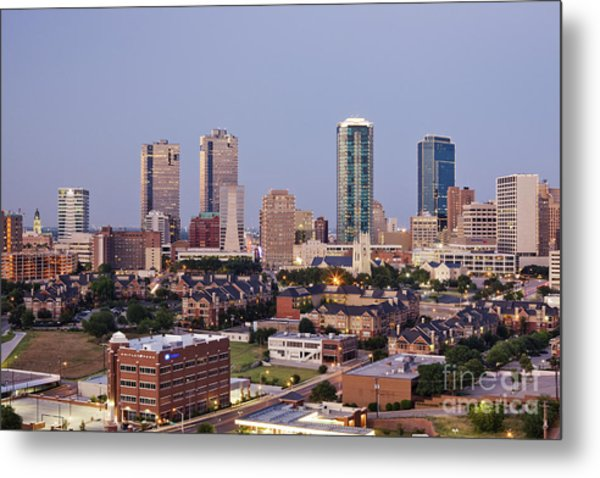 Tall Buildings In Fort Worth At Dusk Metal Print by Jeremy Woodhouse