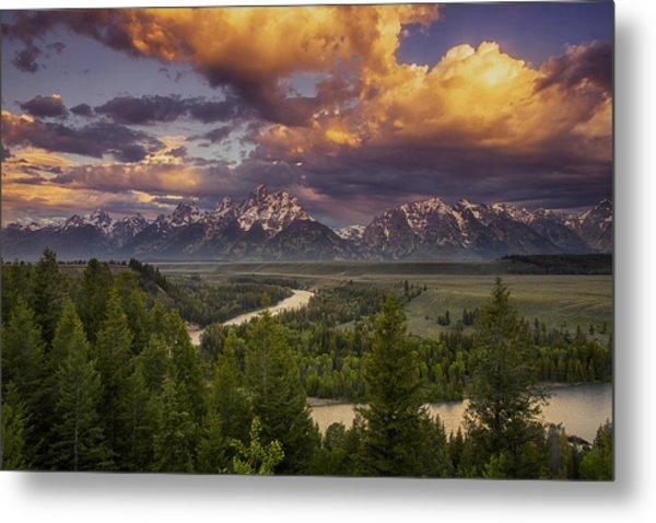Teton Cloudburst Metal Print