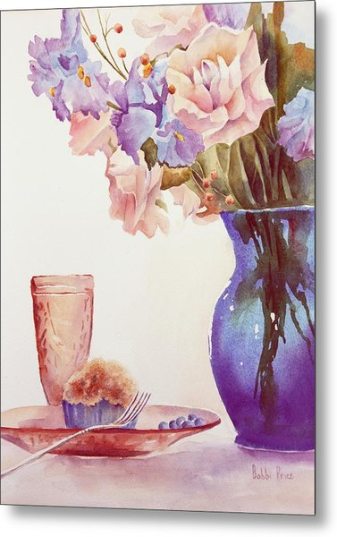 The Blue Vase Metal Print by Bobbi Price