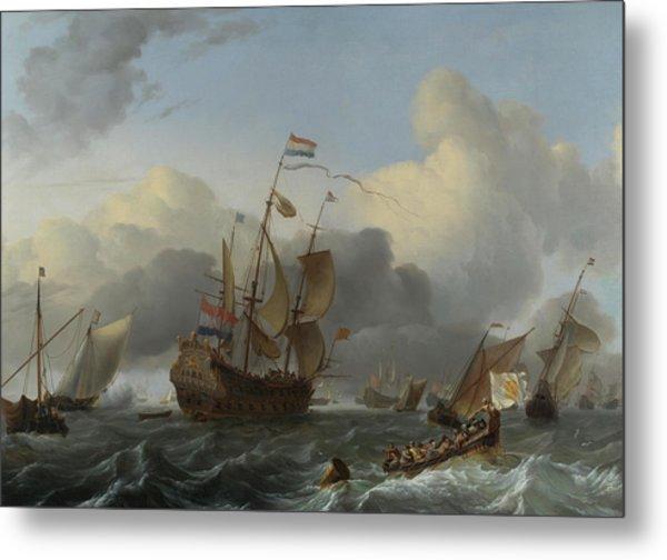 The Eendracht And A Fleet Of Dutch Men-of-war Metal Print