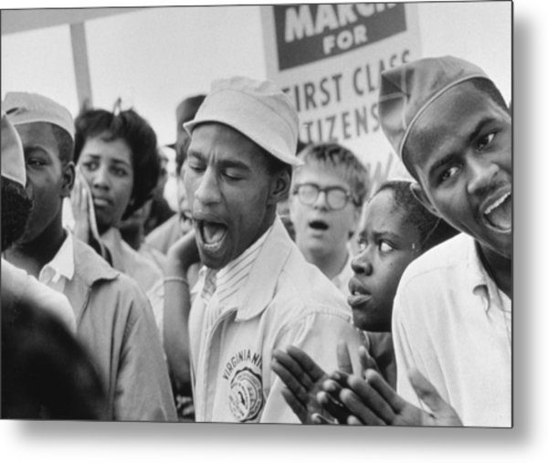 The March On Washington  A Group From Detroit Metal Print by Nat Herz