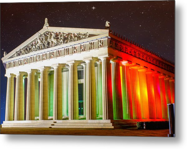 The  Parthenon Under The Stars Metal Print