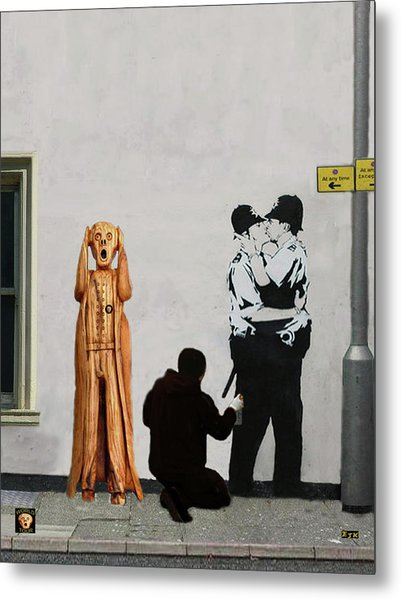 Metal Print featuring the mixed media The Scream World Tour Street Art by Eric Kempson