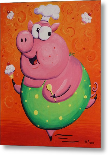 This Little Piggy Baked Cupcakes Metal Print by Jennifer Alvarez