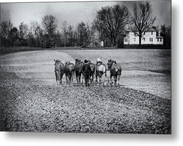 Tilling The Fields Metal Print