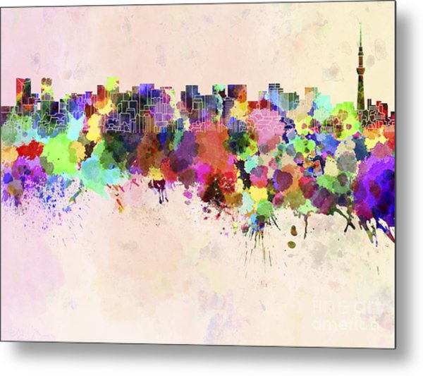 Tokyo Skyline In Watercolor Background Metal Print