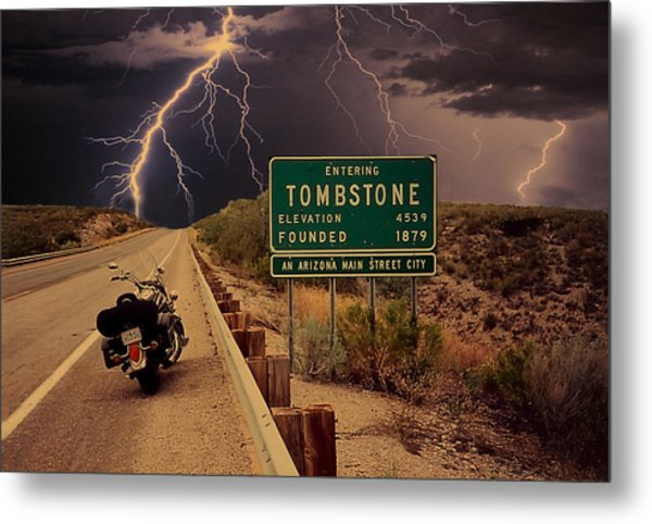 Trouble In Tombstone Metal Print