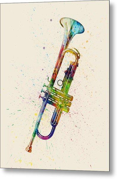 Trumpet Abstract Watercolor Metal Print