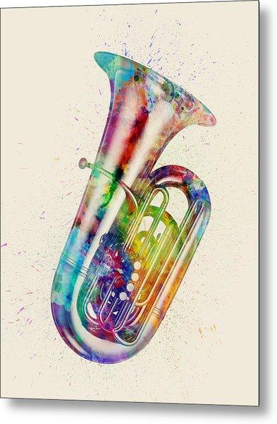 Tuba Abstract Watercolor Metal Print