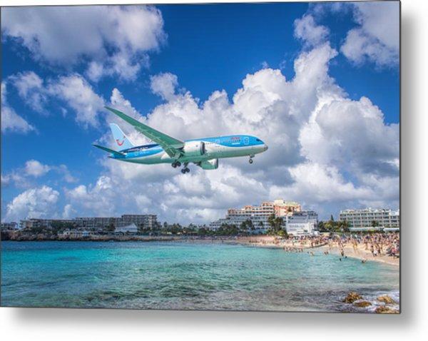 Tui Airlines Netherlands Landing At St. Maarten Airport. Metal Print