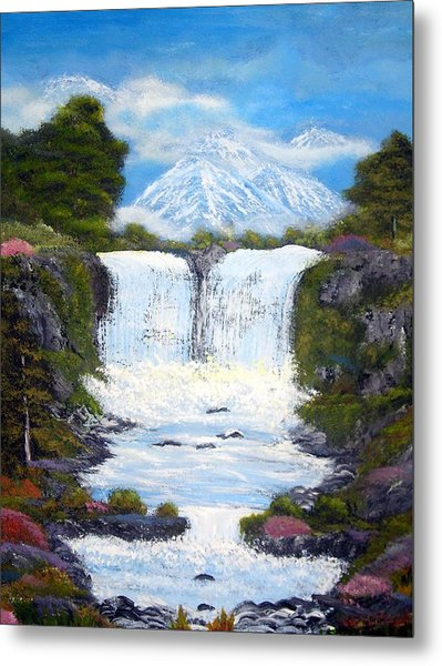 Twin Falls Metal Print by Allison Prior