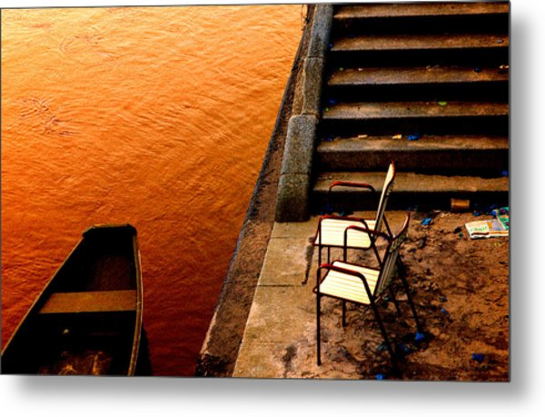 Two Chairs By The Stairs Metal Print