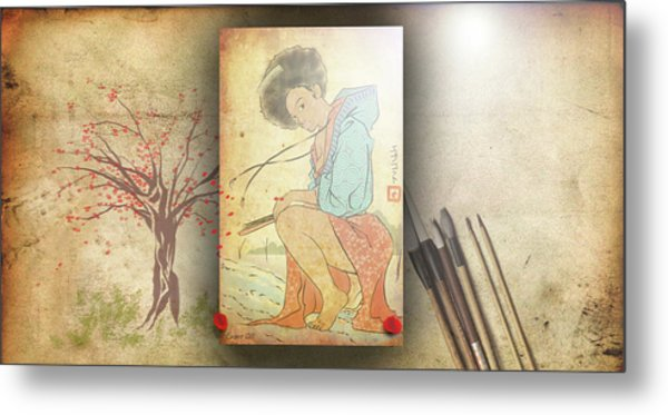 Metal Print featuring the digital art Ukyo-e Soul by Baroquen Krafts