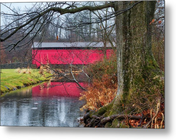 Metal Print featuring the photograph Utica Covered Bridge by Mark Dodd