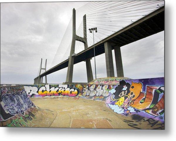 Vasco Da Gama Bridge Metal Print by Andre Goncalves