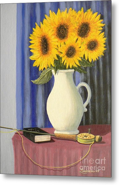 Vase Of Sunflowers Metal Print by Don Lindemann