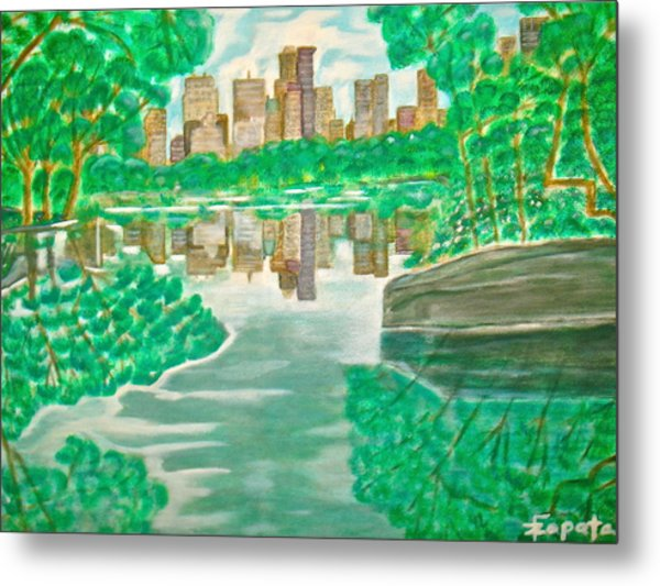 View From Oak Bridge Central Park Metal Print