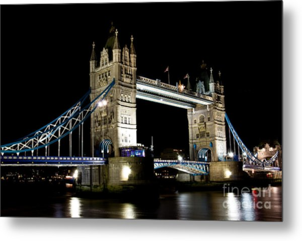 View Of The River Thames And Tower Bridge At Night Metal Print