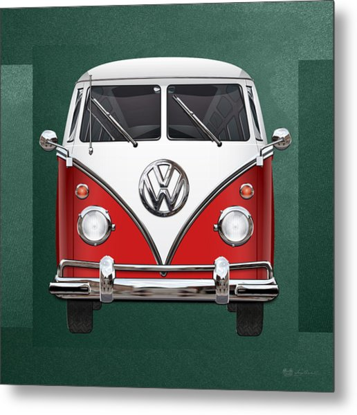 Volkswagen Type 2 - Red And White Volkswagen T 1 Samba Bus Over Green Canvas  Metal Print
